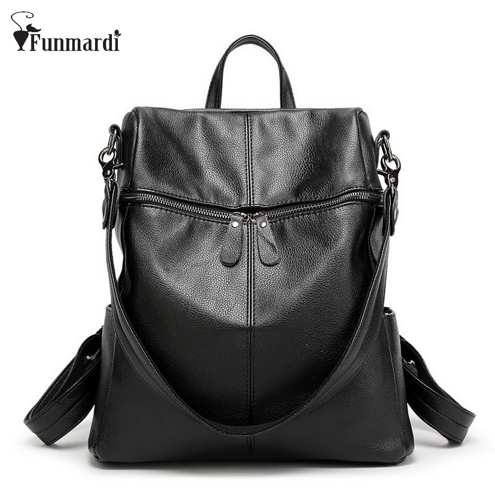 New Fashion Trendy Pu Leather Backpacks Multifunction