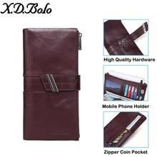 X.D.BOLO Purse Women Long Clutch Wallet Large Capacity Wallets Genuine Leather Female Purse Lady Purses Card Holder Phone Bag