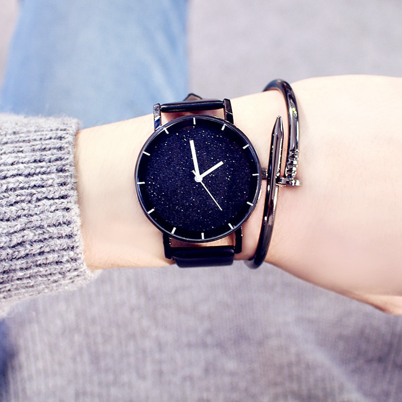 Korea Style Men Women Watches Luxury Quartz Ladies Wrist Watches Minimalism Starry Sky Watch Fashion Casual Leather Clock Female