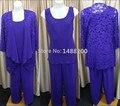 Azul Royal Chiffon Três-piece Mãe dos Ternos de Noiva Calça com Lace Jacket Vestido Mae da Noiva Janique Vestido Feito Sob Encomenda feito