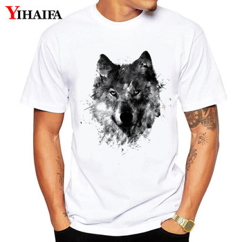 Summer T-Shirt Men Man Harajuku suit gym Print Foggy Wolf Graphic Tees Casual TShirts Plus Size White Tee Shirts Unisex Tops casual glasses print tee in white