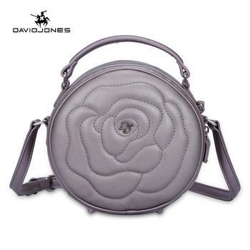 DAVIDJONES المرأة حقيبة يد فو الجلود الإناث حقيبة ساع صغيرة سيدة الزهور حقيبة كتف فتاة العلامة التجارية حقيبة مستديرة انخفاض الشحن