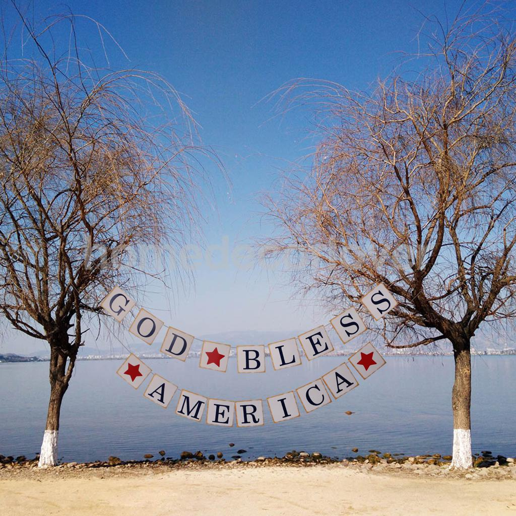 God Bless American Star Banner Homecoming Sign Patriotic July 4th Garland Hanging Decoration Photo Prop