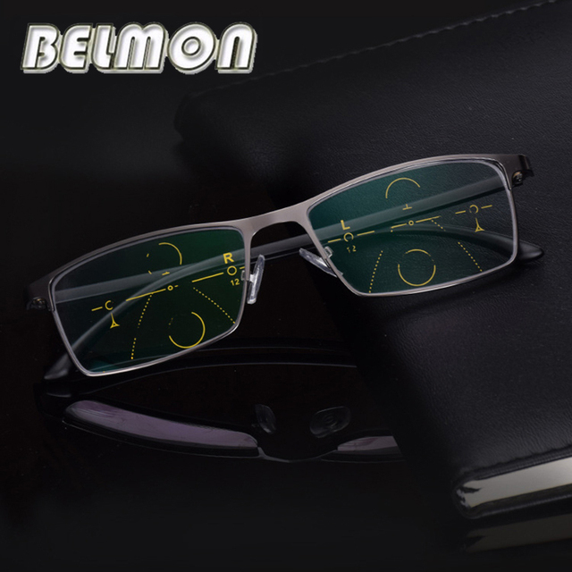 BELMON Đa Tiêu Cự Tiến Bộ Kính Đọc Sách Nam Diop Kính Mắt Presbyopic Kính Mắt + 1.0 + 1.25 + 1.50 + 1.75 + 2.00 + 2.25 + 2.5 RS318
