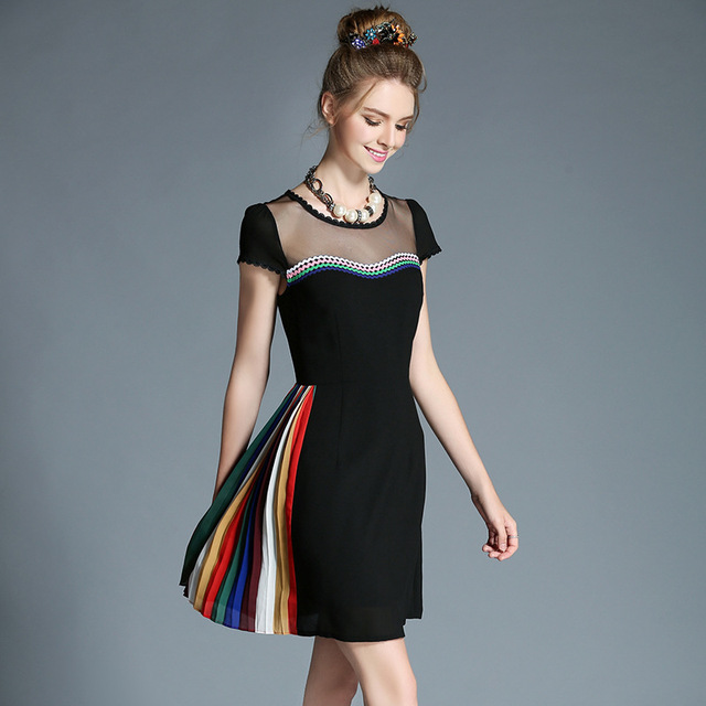 0ef2cf995cad9 Women Plus Size Pleat Mesh Patchwork Black Short Sleeve Party Dress Fit  Flare Day Dress l-5xl