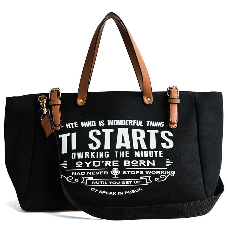 Ladies Women Bag European American Style Canvas Fashion Large Capacity Tote Letter Shoulder Messenger Bag Casual Tote Handbag
