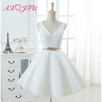 AXJFU princess white sleeveless evening dress party v neck a line leaf sashes short evening dress little white dress