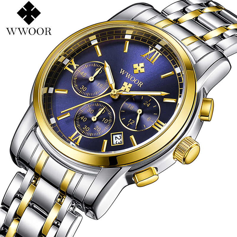 WWOOR Top Brand Luxury Mens Watches Business Chronograph Waterproof Gold Stainless Steel Sport Men Quartz Wrist Watch Male Clock mens watches top brand luxury cadisen military sport quartz chronograph watch men waterproof full stainless steel wrist watch