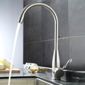 Kitchen Sink Faucet All Stailnless Steel Material Single Handle Deck Mount Nickel Brush Hot And Cold Basin Taps BCFLR005