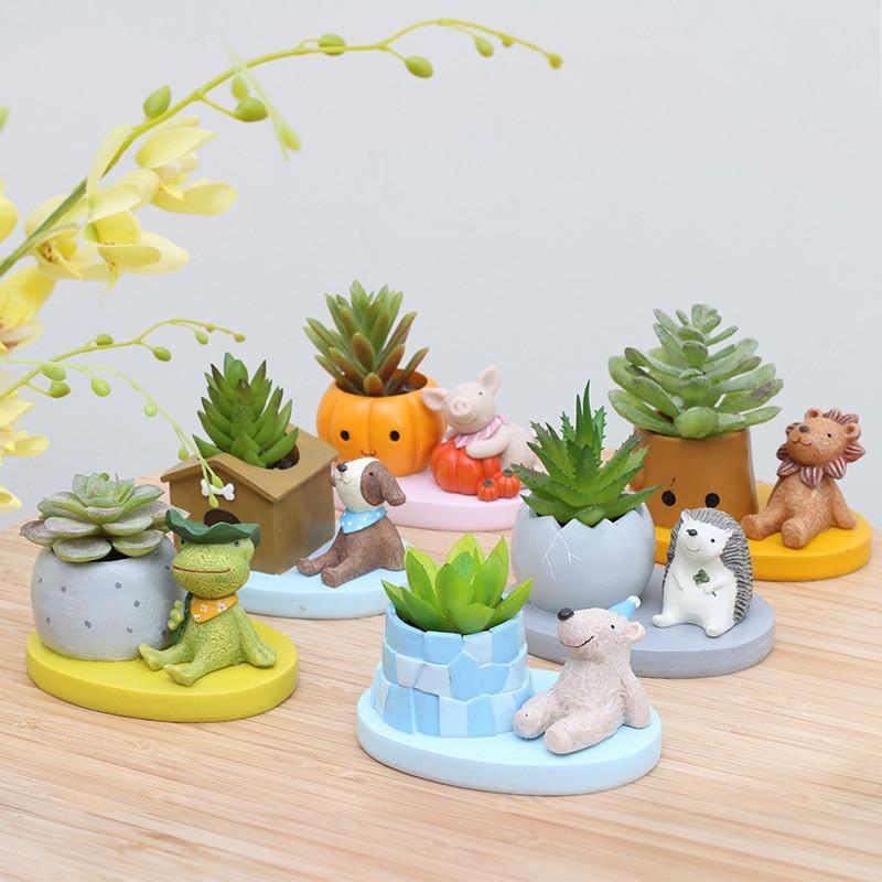 Set of 6 Animal Succulent Plant Pots Desktop Flowerpots Bonsai Planters Frog Lion Puppy Bear Figurine