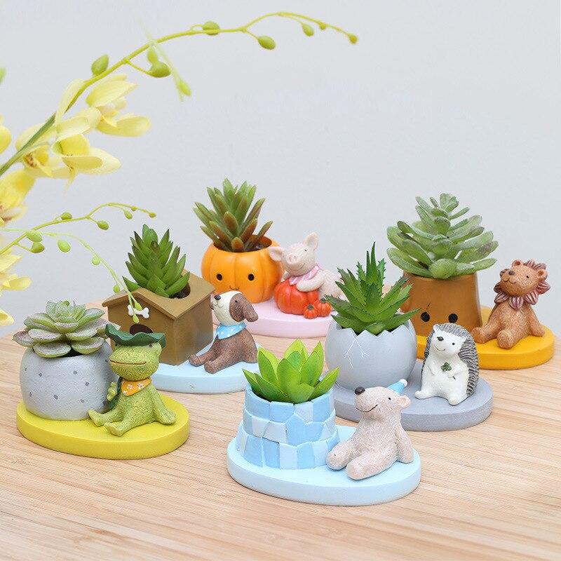 Set de 6 plantas suculentas de animales escritorio con macetas plantadores bonsái Rana León cachorro oso figurita-in Macetas y jardineras from Hogar y Mascotas    1