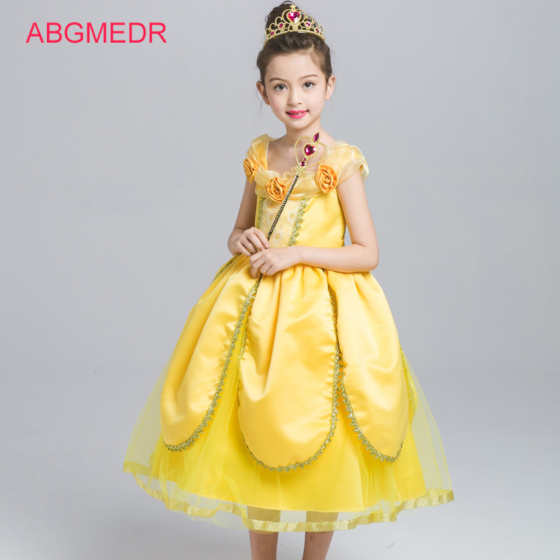 ABGMEDR Brand Girls Belle Dress Autumn Children Clothing Baby Girl Beauty and the Beast Dress Cartoon Kids Party Cosplay Clothes аксессуары для косплея random beauty cosplay