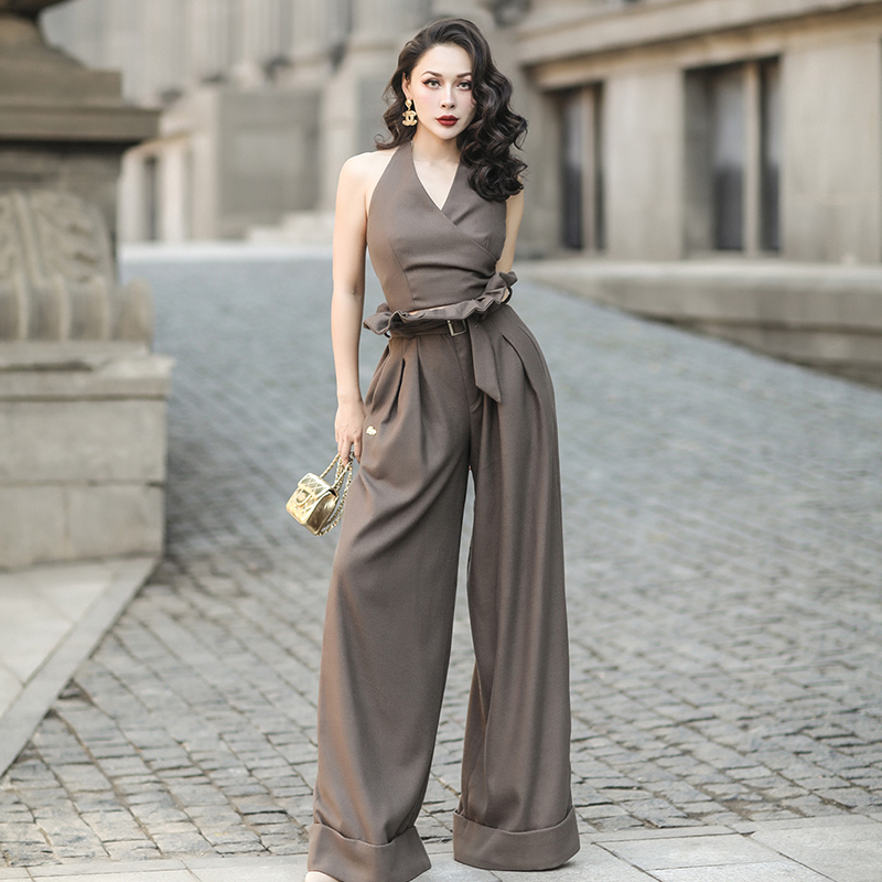 le palais vintage 2018FW Worsted Wool Draping Women Suits Backless Halter Top and Slim High Rise   Wide     Leg     Pants   with Belt