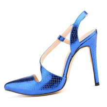 TOYL font b Women b font crocodile skin Pumps summer spring Pointed Toe High Heels Sexy