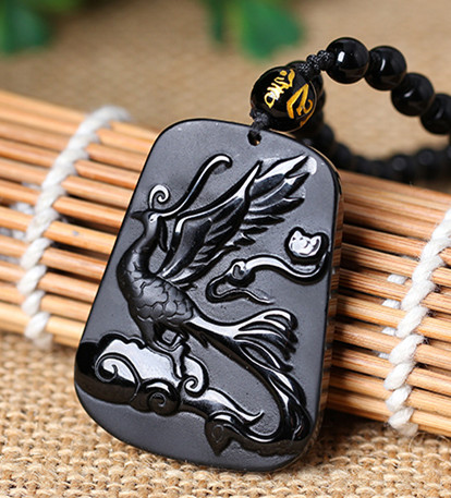 light horse people  mascot dog by crane gem amulet Obsidian Pendant diy real stone Obsidian  jewelry necklace charms pop