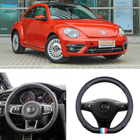 For Volkswagen Beetle D Style Universal Car Steering Wheel Cover Matt Carbon Fiber Leather Sports