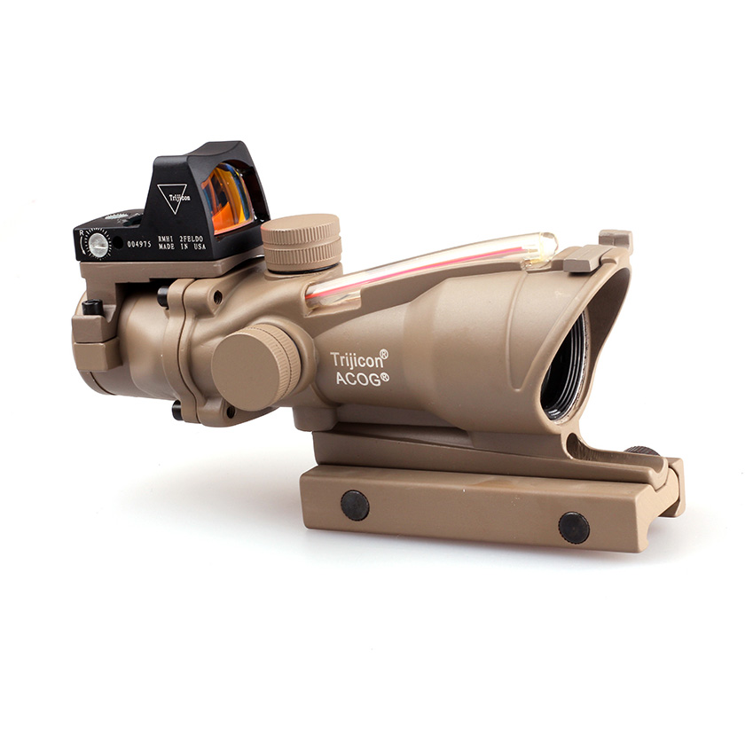 Tactical 4X32 Tan Real Fiber Optics Red Illuminated Scope w/ RMR Micro Red Dot hunting Riflescope tactical trijicon acog style 4x32 real fiber optics red illuminated crosshair scope w rmr micro red dot hunting riflescopes