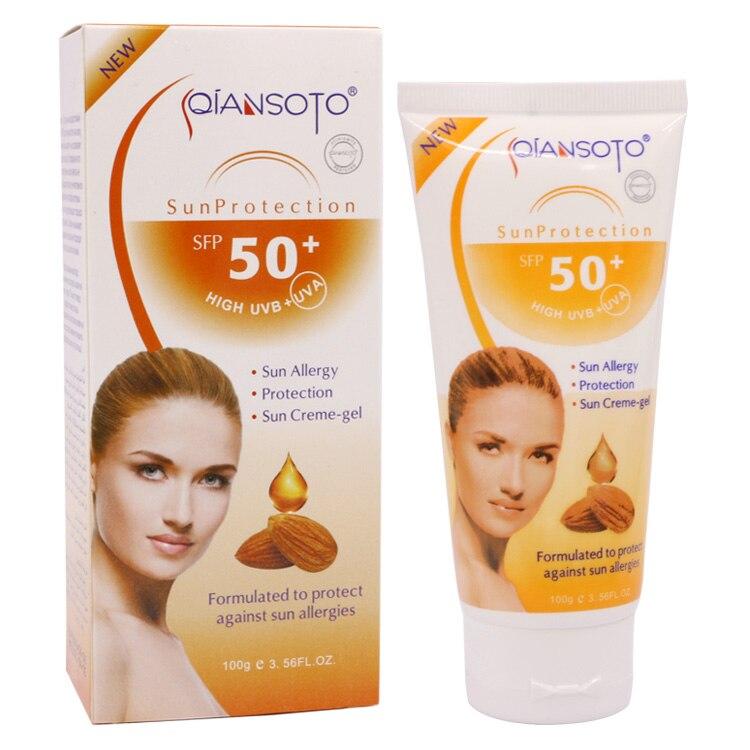 NEW Almond Sunscreen Sun Allergy Protection Creme-gel High UVB+UVA SPF 50+ Water Resistart Ultralight 100G Face Cream