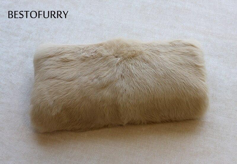 Mujeres Unisex de los hombres de moda de invierno de piel de conejo Real mano manguito calientamanos FO0004 - 2