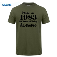 GILDAN 34Rd Birthday Made In 1983 Sunlight Purple Homme O Neck cotton simple tee shirts New Fashion uniform men