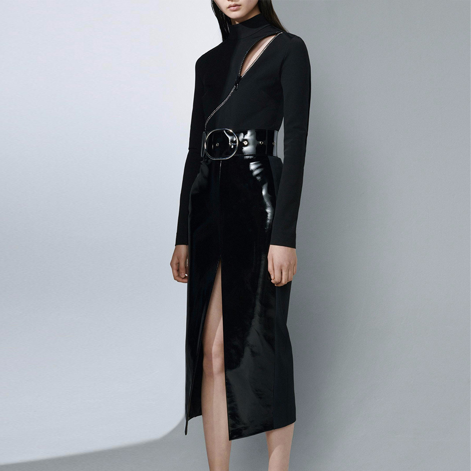 Seamyla 2019 New Women Bandage Suits Black Bodycon Two 2 Piece Sets Celebrity Party Suits Sexy