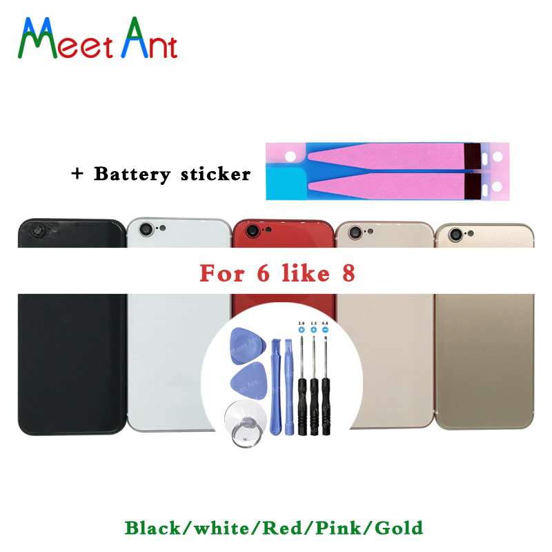 High Quality Back Cover For iphone 6 6G like 8 or 6S like 8 Housing Battery cover Rear Door Chassis Frame + Battery sticker ToolHigh Quality Back Cover For iphone 6 6G like 8 or 6S like 8 Housing Battery cover Rear Door Chassis Frame + Battery sticker Tool