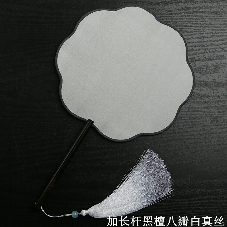 White Chinese Natural Silk Fabric Fan Traditional Craft Wood Handle Ladies Hand Fans Adult DIY Fine Art Painting Programs
