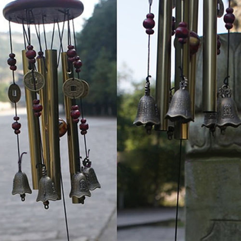Outdoor Antique Amazing Grace Deep Resonant 4 Tubes 5 Bells Copper Yard Garden Living Room Wind Chimes Chapel Bells Wall Hanging