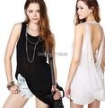 European Style Fashion Summer Woman Sexy Halter Back Cross Design Long Vest Perspective O-Neck Sleeveless Tanks Free Shipping