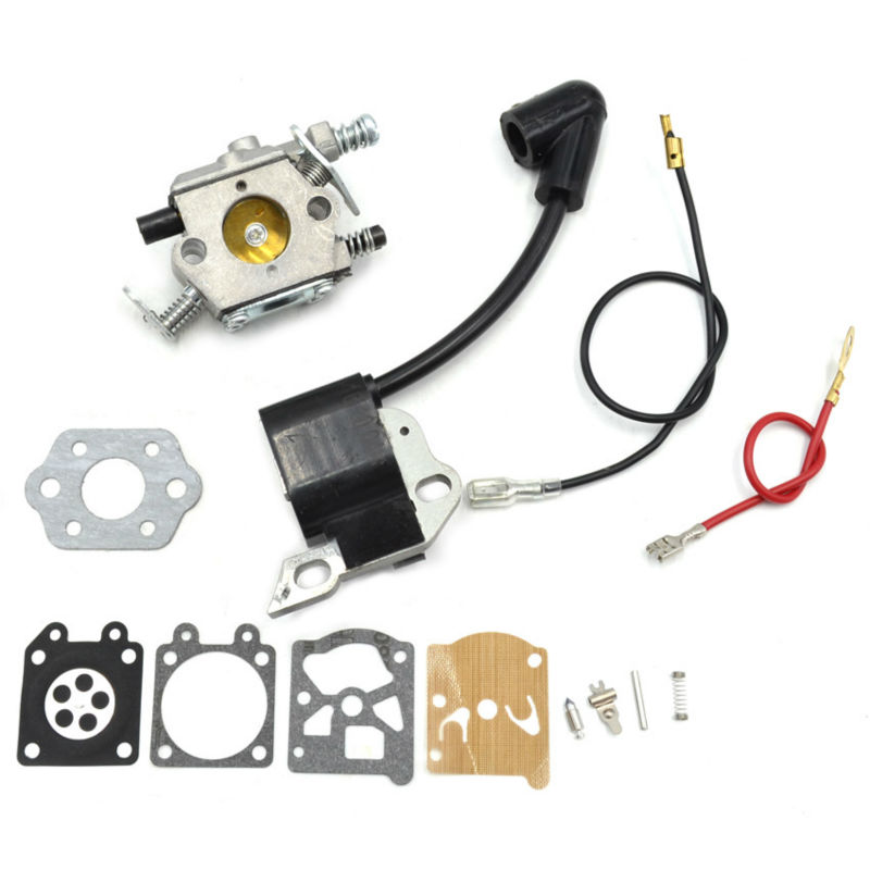 Walbro Carburetor Carbs with Repair Kit Gasket and Ignition Coil Module for Stihl 017 018 MS170 180 Replacement ферпласт подушка relax 45 2 soft плюшевая бело коричневая