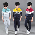 Мальчики одежды Осень детей 2016 новых мальчиков костюм хлопка из двух частей одежды дети одежды костюм 4 6 7 9 10 11 12 14 15 16 лет