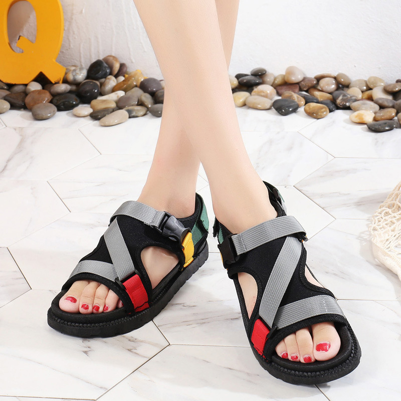 Open Toe Front Rear Strap Flat with Platform Sandals Women Mixed Colors Mixed Colors Casual Ladies Shoes Fashion Basic Sandals 4