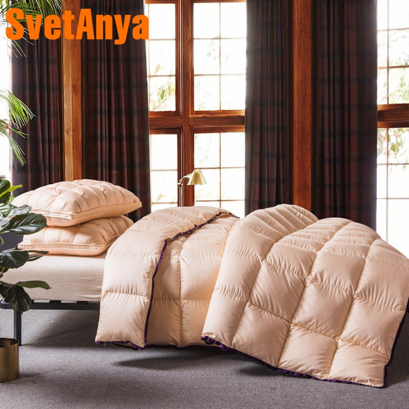 Svetanya Goose Down Duvet 3D quilted Quilt king queen twin full size Comforter Winter Thick Blanket Solid Color