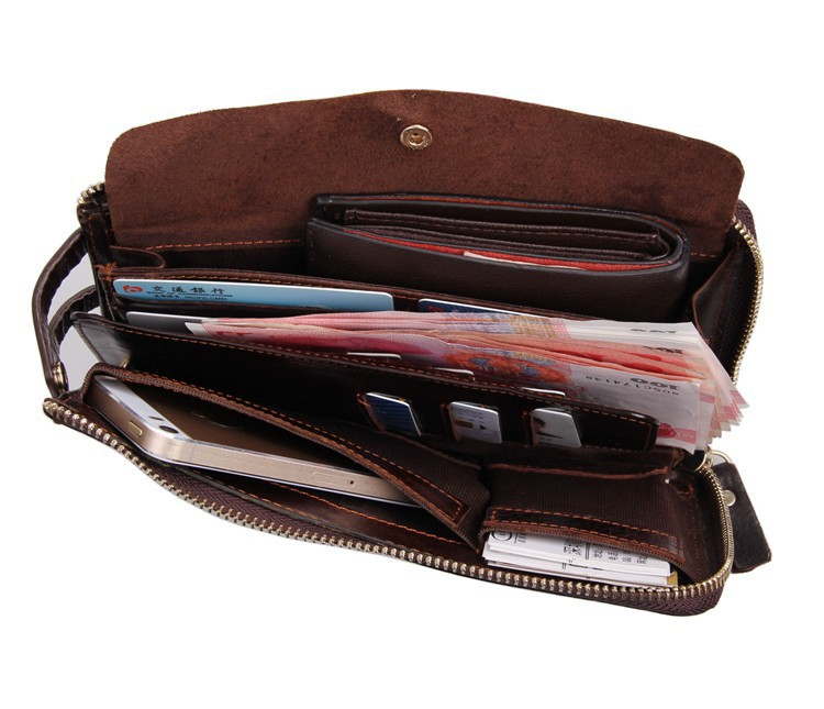 Zipper Pockets 100 Genuine Leather Men Clutch Bag Coin Purse Handbag Case Iphone 5 6 Cowhide Purses And Wallets On Aliexpress Alibaba Group