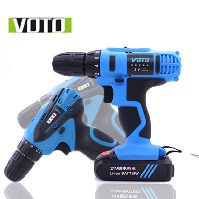 VOTO Battery Rechargeable Cordless Drill Electric Screwdriver Set Lithium Power Tools Screw Gun Driver 12V 16.8V 21V Blue 2018