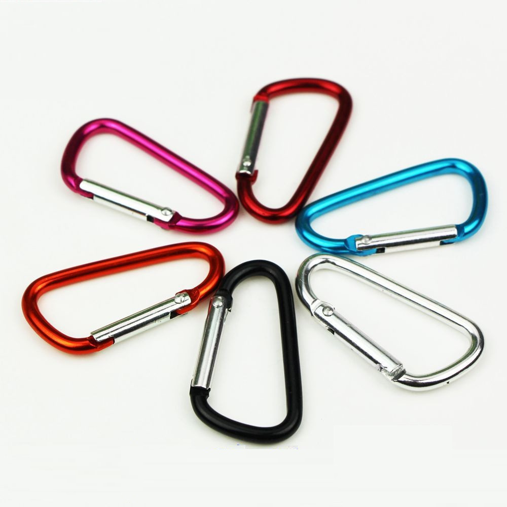 20 PC/Lot 5# D Shape Mini Outdoor Survival Carabiner Hook Buckle Survial Kit Mosqueton For Camping EDC Tool AA03-20P