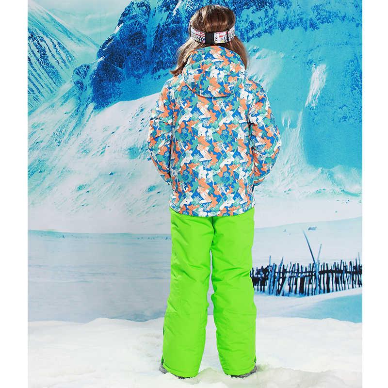 Комплект детской зимней одежды с детектором, ветрозащитные лыжные куртки + штаны, детские зимние комплекты, теплый костюм для мальчиков, лыжные комплекты для мальчиков