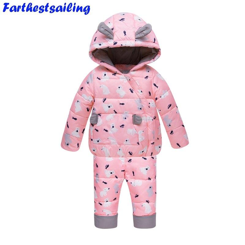 купить -30 Degrees Russia Winter Ski Jumpsuit Children Clothing Baby Boys Girls Sport Suit Kids Snow Wear Down Jackets Coats Bib Pants недорого