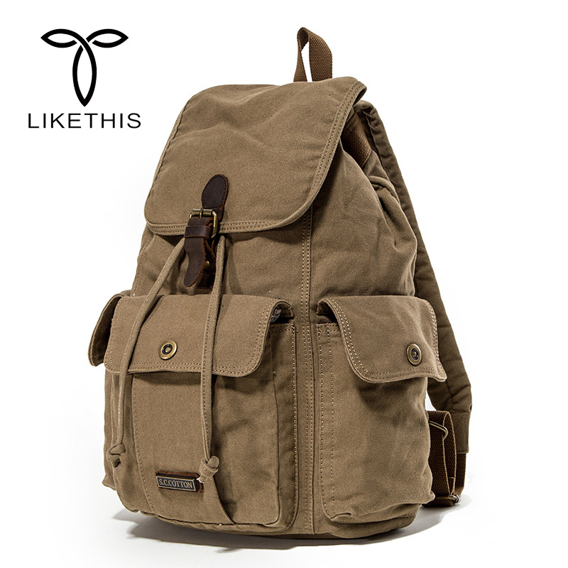 2018 New Arrival Men s Retro Backpack Vintage Canvas Travel Backpack Classic School Bag Men s