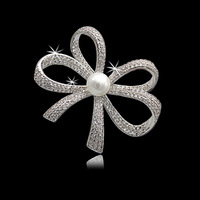 S Vex High Grade Brooch Micro Inlaid Zircon Sweet Bow Girl Temperament Brooches Crystal Bowknot Pearl