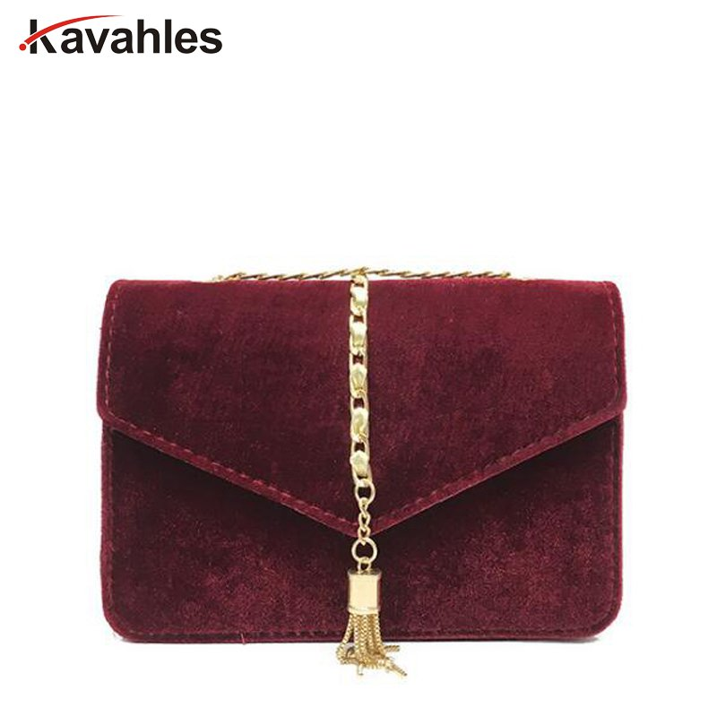Gold Velvet Crossbody Bag Women Elegant Long Chain Shoulder Bag Autumn Winter Messenger Bags Female Tote Vintage Handbag PP-1088 2017 120cm diy metal purse chain strap handle bag accessories shoulder crossbody bag handbag replacement fashion long chains new