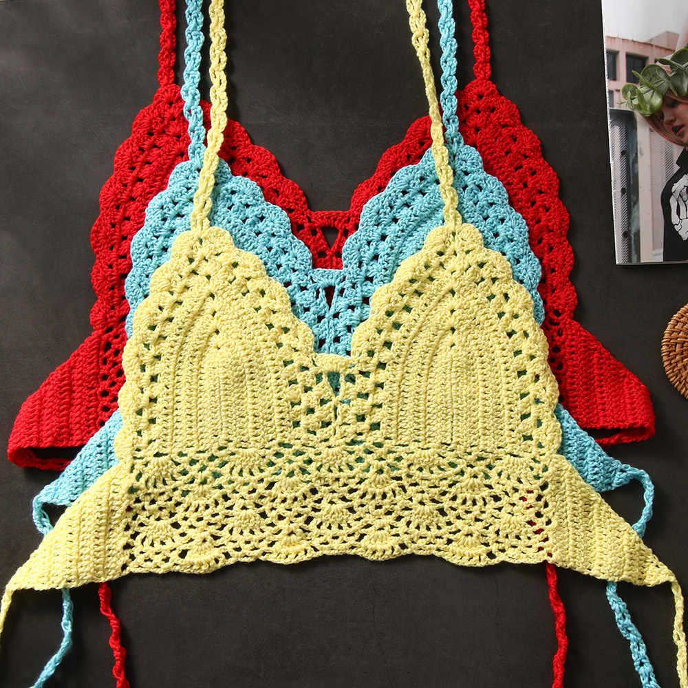 8 kolory Sexy kobiety letnie bikini krótki top szydełka Boho plaża Bralette koszulka z wiązaniem na szyi Backless szydełka dzianiny biustonosz jednolity tank top
