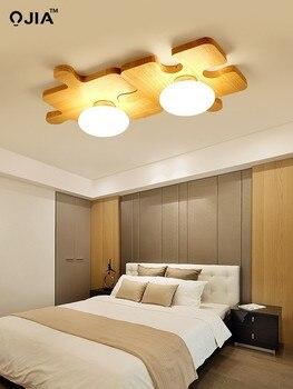 Yeni Nordic Rüzgar Tavan Lambası Modern Oturma Odası Lamba Led Tavan Lambası Basit Yatak Odası Ahşap Lamba