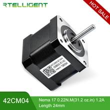 Rtelligent выход фабрики 4 свинца Nema17 шаговый двигатель 42 двигатель Nema 17 42CM04 (42 BYGH) 1.2A шаговый двигатель для 3d принтера CNC XYZ