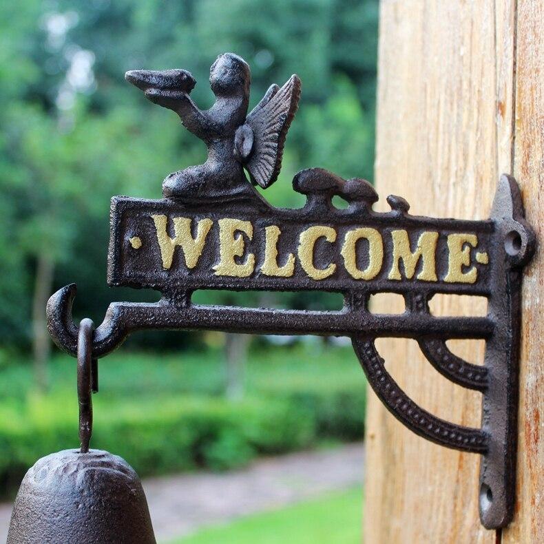 Чугунные Висячие ангелочки Добро пожаловать колокольчики для обеда настенное крепление домашний домик деревенский садовый декор Детская ... - 6
