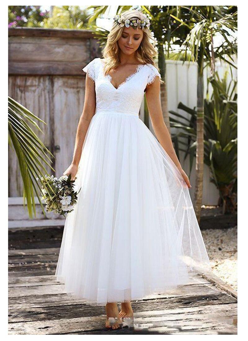 2019 Beach Lace Short Wedding Dress Tea Lenght A Line bride dress Sexy V Neck Cap