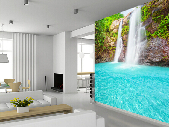 Kitchen Wall Background custom landscape wallpaper. waterfall murals for living room