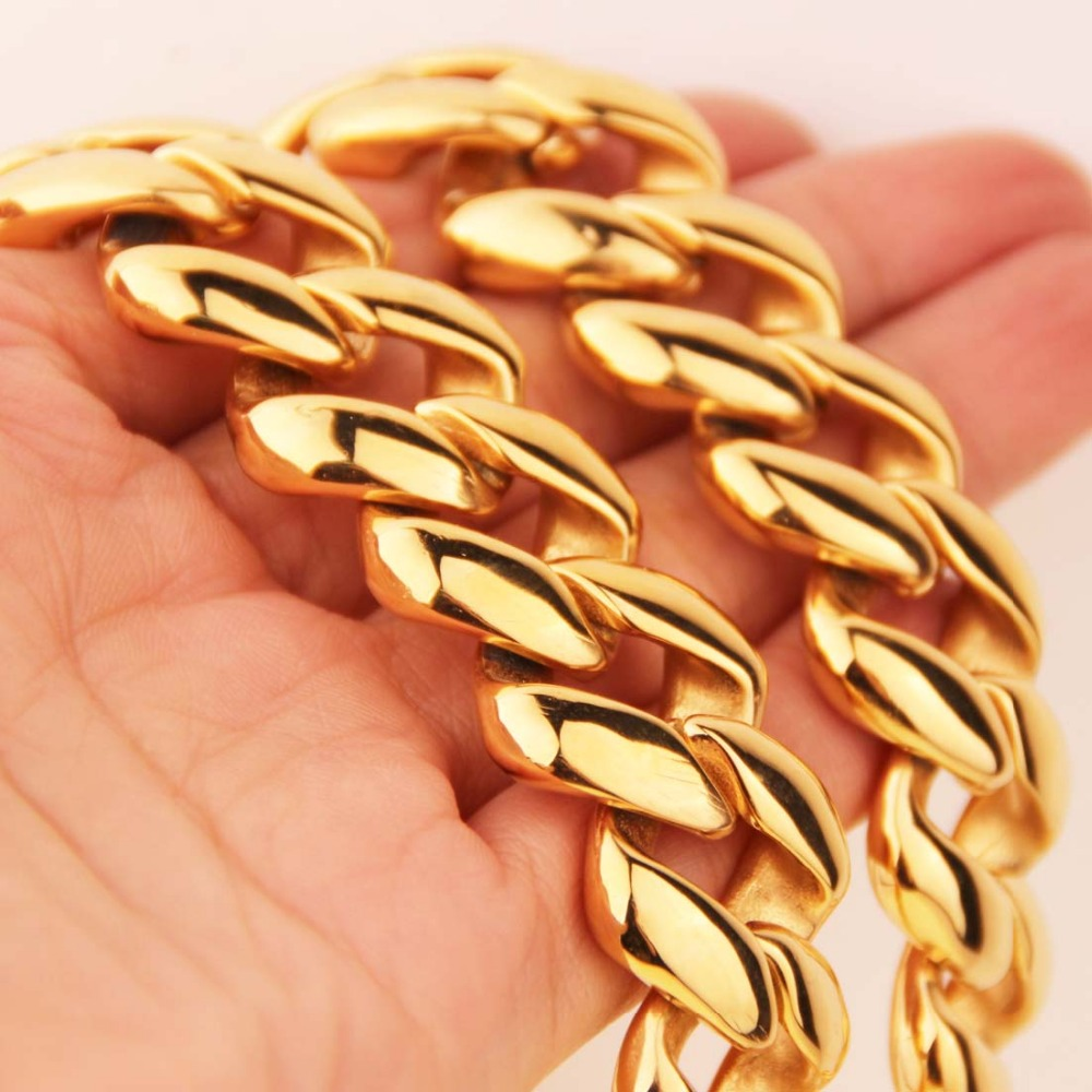 21mm Cool Huge 316L Stainless Steel Gold Tone Cut Cuban Curb Link Chain Men's Necklace Jewelry 23.6