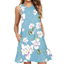 2019 women's sexy spring and summer round neck dress sweet sleeveless temperament Slim printed elastic A-line dress sweet square neck sleeveless circle printed dress for women