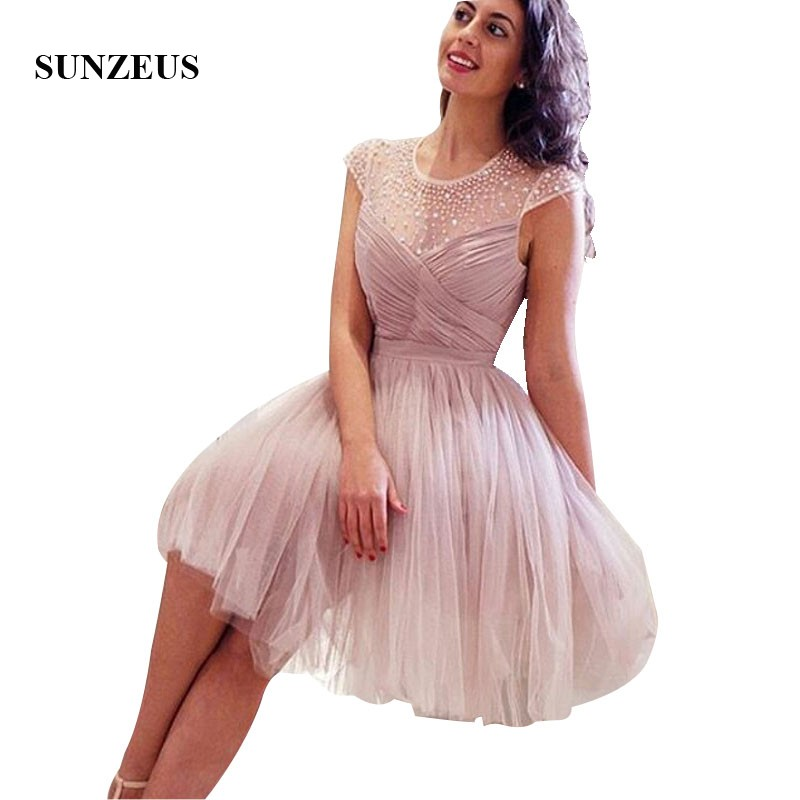 Short Tulle   Bridesmaids     Dresses   A-line Cap Sleeves Beaded Wedding Party   Dress   Beautiful Junior   Bridesmaids   Gown Girl